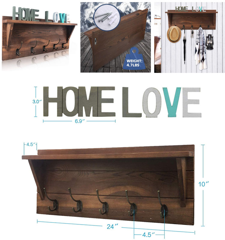 """Rustic Wall Mounted Coat Rack Shelf Brown Wooden Country Style 24"""" Entryway Shelf with 5 Rustic Hooks"""