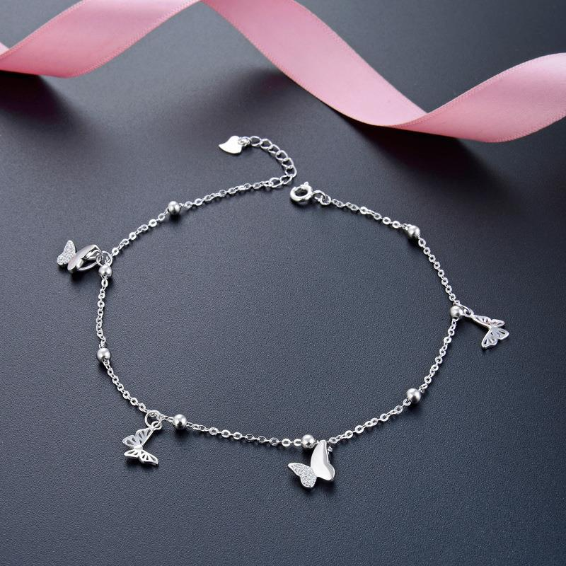 Dylam jewelry Sterling Sliver 925 Butterfly anklet for women Korean Simple style accessories