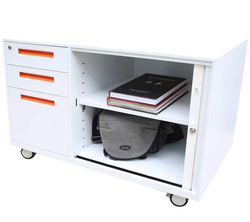 Office 3 drawers storage cabinet A4 F4 file hanging steel <strong>mobile</strong> pedestal filing cabinet