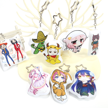 VOGRACE cheap OEM logo custom hot-transfer printing mini pillow shape keychain,promotional cartoon anime pp cotton key ring