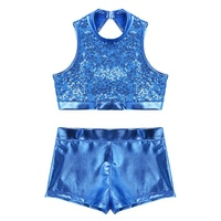 Girls Dancewear Sequins Sleeveless Cutout Back Crop Top With Bottoms Set For Jazz Tap Hip Hop Dance Stage Performance Wear