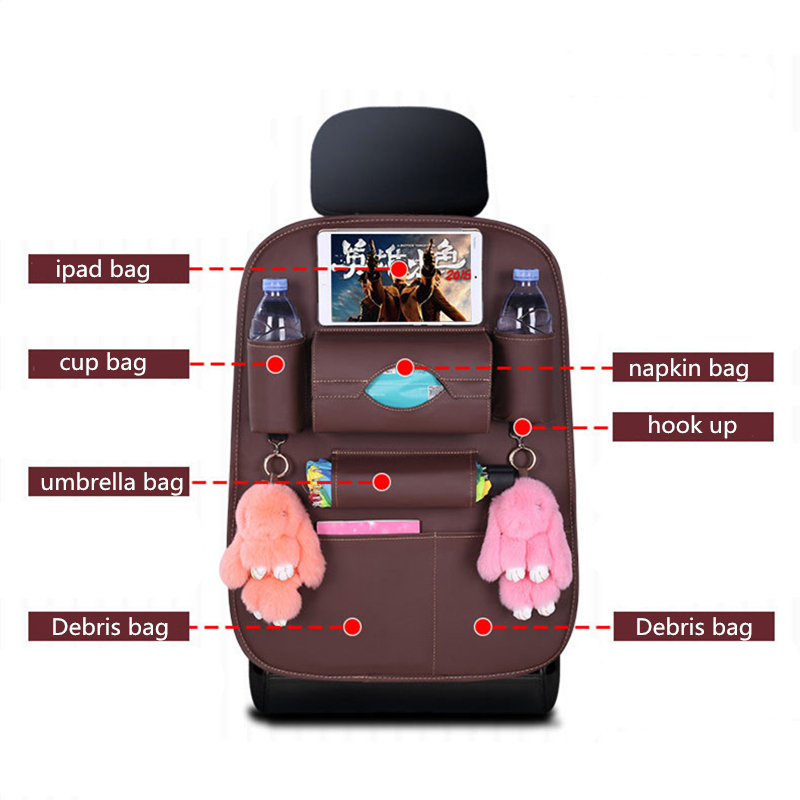 Factory Universal PU Leather Multifunction Car seat back storage Organizer bag