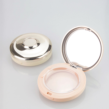 New design luxurious OEM/ODM pressed powder case factory round shaped golden color pressed powder box packaging