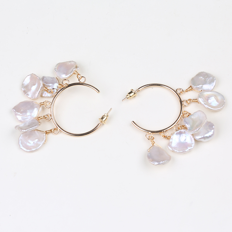 Handmade petal shape pearl earrings 925 sterling silver