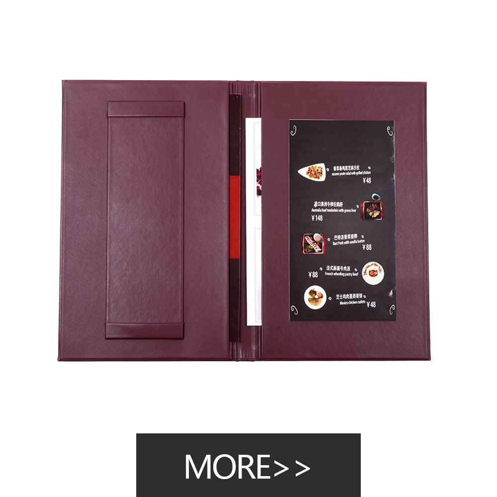 Custom made luxury faux black leather menu covers for restaurant a4 leather menu folder