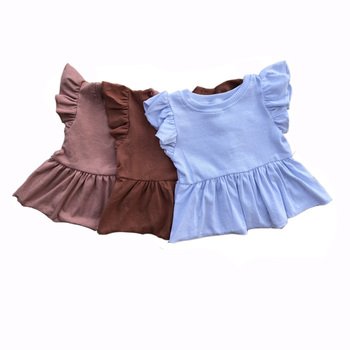 wholesale fashion solid flutter sleeves newborn ribbed cotton baby dress casual one piece girl dresses