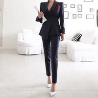 Striped 2 Pieces Fashion Design In Stock Manufacturer Slim Women Business Suit