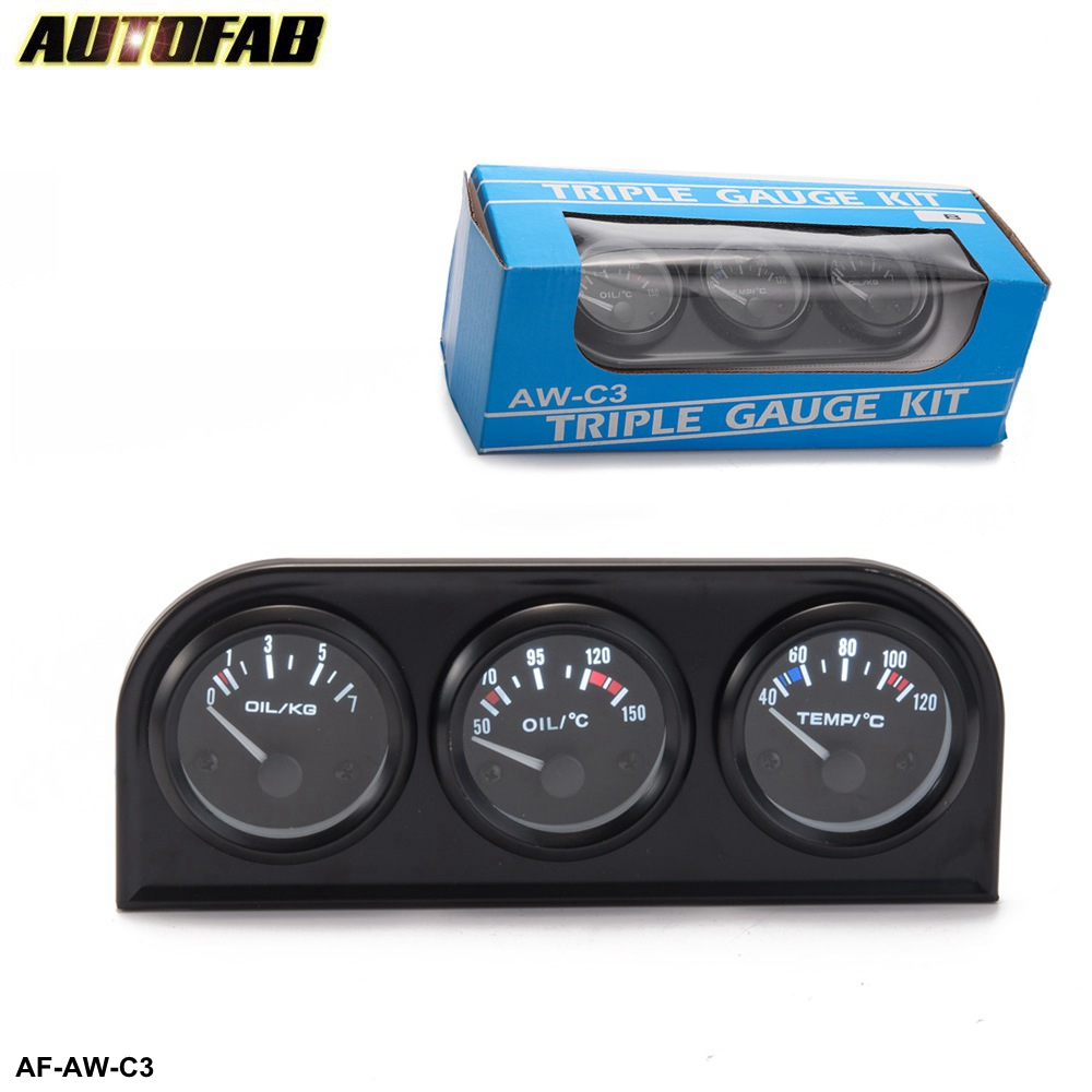 AUTOFAB- Auto 52mm Triple Gauge Kit 3in1 Volt /Water Temp Gauge /Oil Pressure Gauge Or Oil Temp Meter <strong>W</strong> Sensor AF-AW-C3