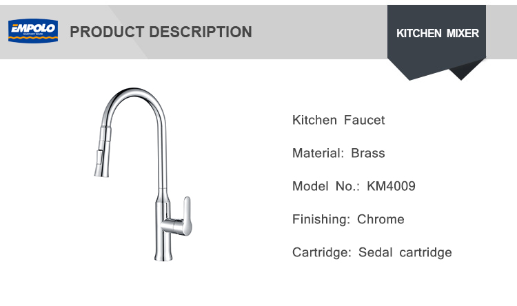 Commercial Single Handle High Arc Pull out Kitchen Faucet Sink with Pull down Sprayer