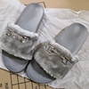 grey ladies faux fur slides