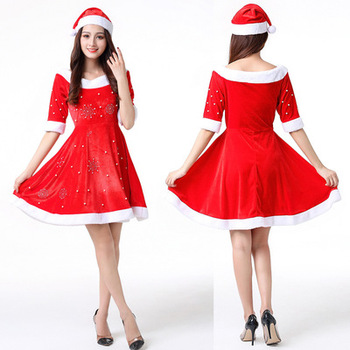 Fashion Top grade Santa Claus women costumes Elegant sexy ladies Christmas dress for carnival evening cosplay costume