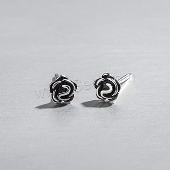 wholesale fashion vantage antique silver color plated 925 sterling silver rose stud earrings for women