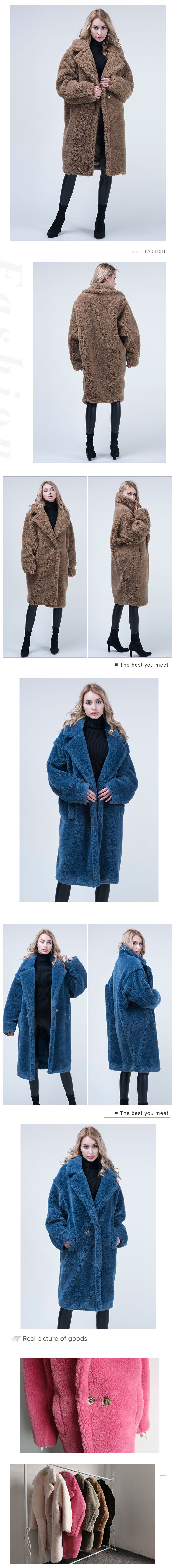 Wholesale  price long style teddy coat women winter real sheep sheared teddy bear coat