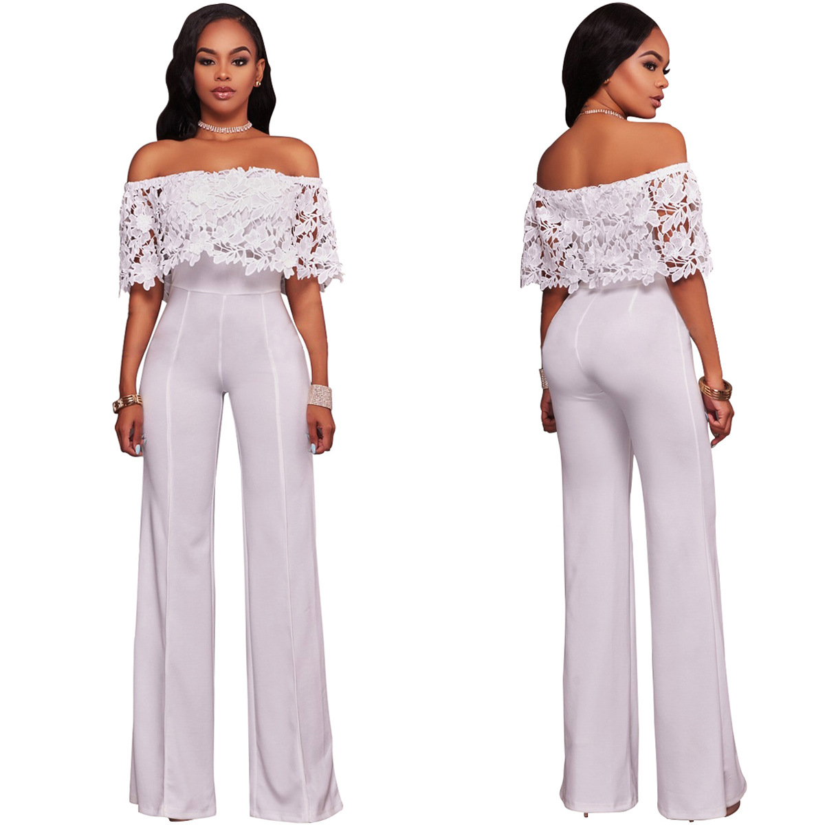 G055Casual Women's Water-soluble Lace Bandeau Jumpsuit