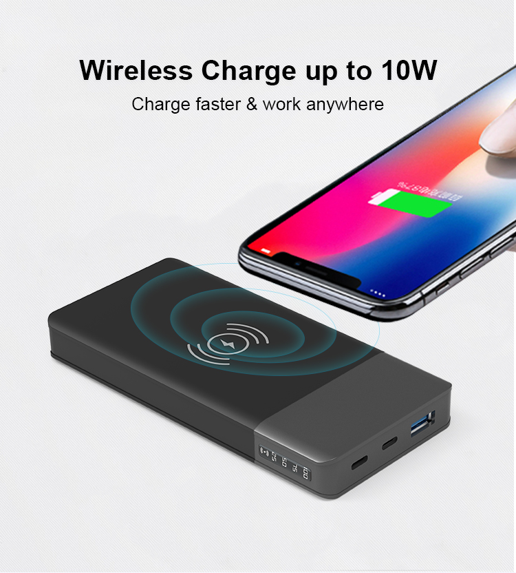 12V Type C 3 Outputs QC PD 3.0 Fast Charger 10000mah 10W LED Power Bank Wireless