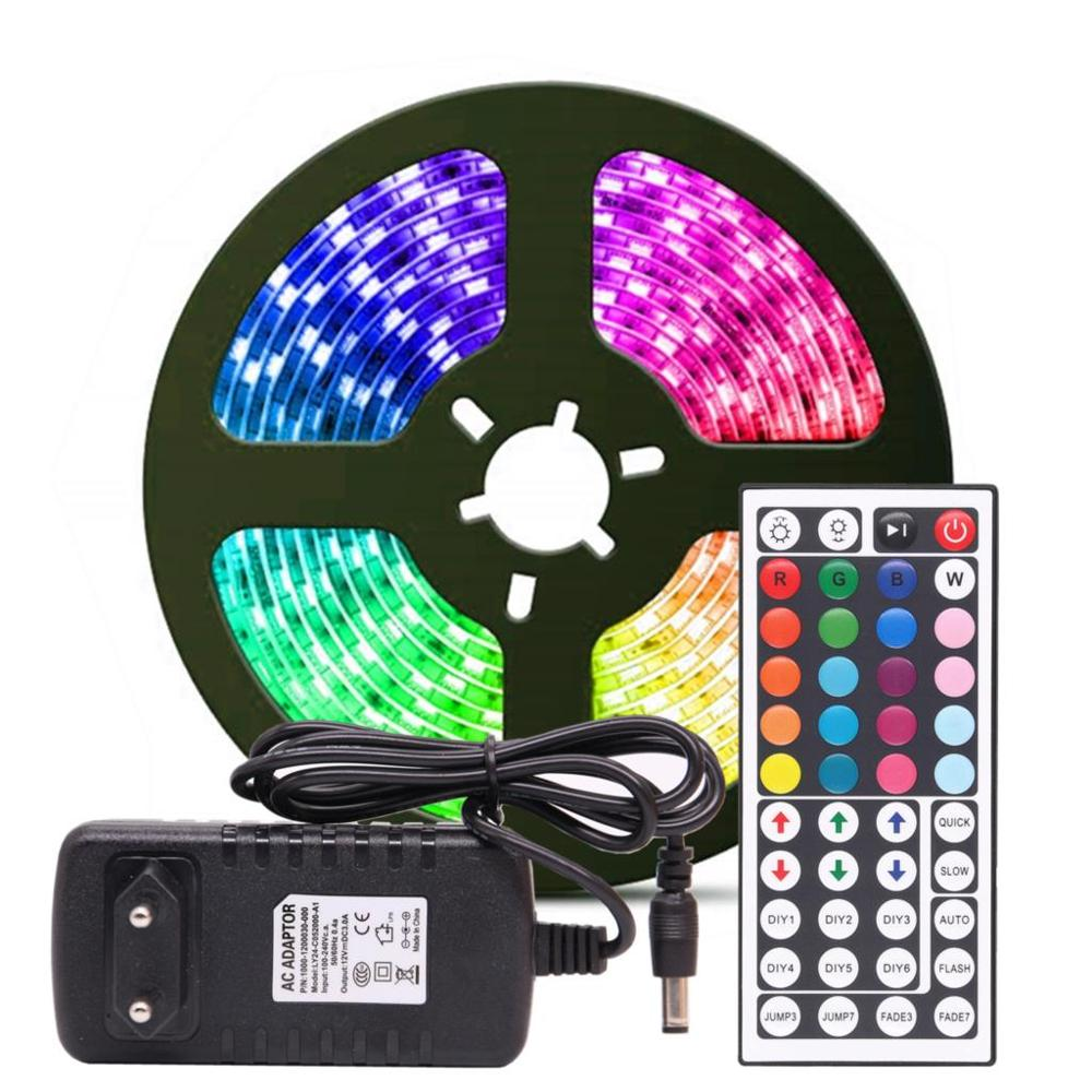 <strong>RGB</strong> LED Strip Light <strong>RGB</strong> 5050 SMD 2835 Flexible Ribbon fita led light strip <strong>RGB</strong> 5M Tape Diode DC 12V Remote Control Adapter
