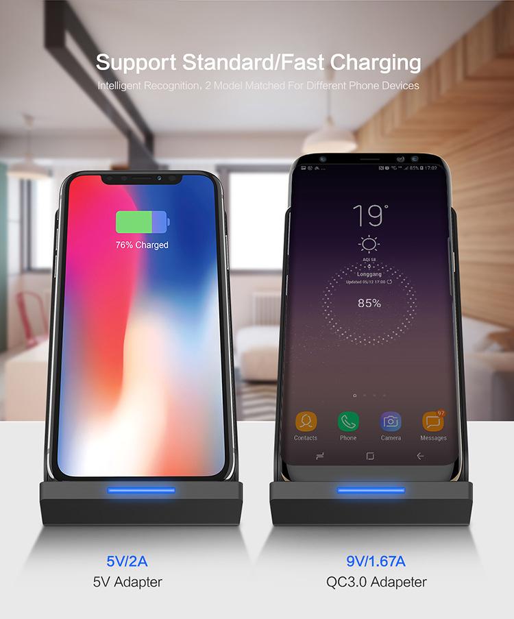 Chargeur rapide de Téléphone Sans Fil Qi Chargeur Rapide Support de Charge pour iPhone 8plus pour iPhone X Charge pour Samsung note 8 S8 - ANKUX Tech Co., Ltd