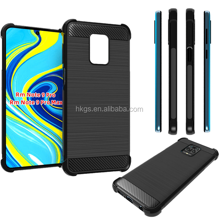 Black Wiredrawing Style Shockproof Tpu Back Cover Case For Redmi Note 9 Pro Max Note 9S