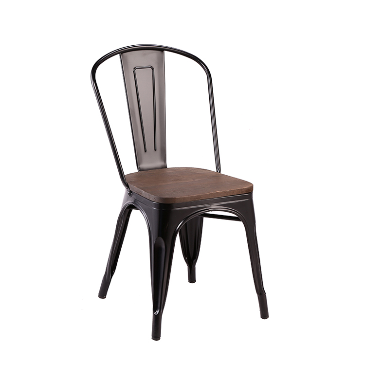 Cafe Shop Restaurant Industrial Rustic Metal Tolix Chair with wood seat