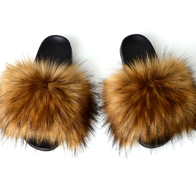 Wholesale Women's Flip Flop Faux Fur Soft Slides Flat <strong>Slipper</strong>