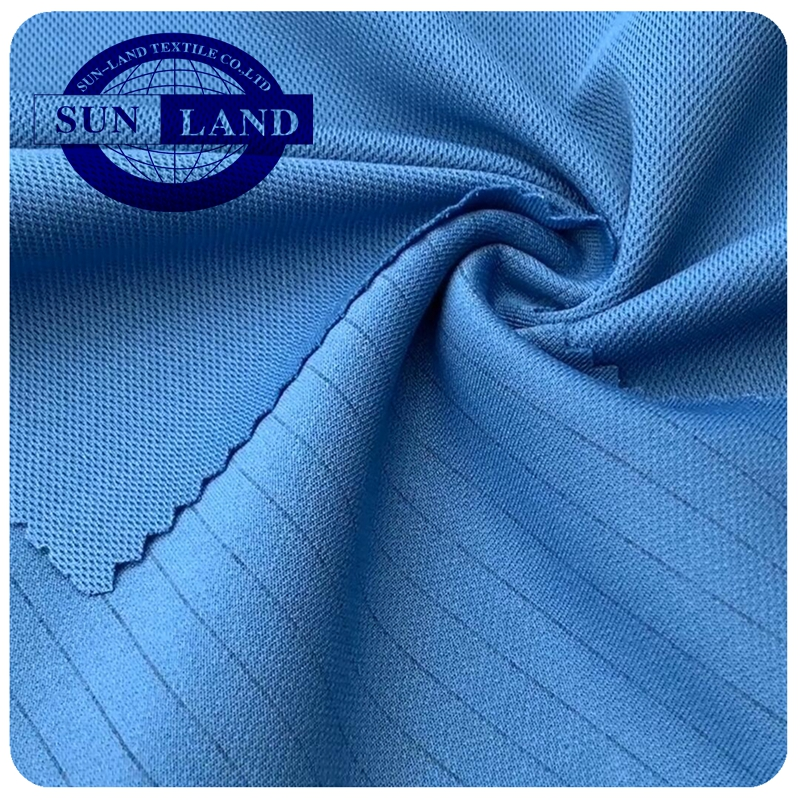 car factory worker uniform clothing 28 Gauge knit 99% polyester 1% anti-static pique mesh fabric