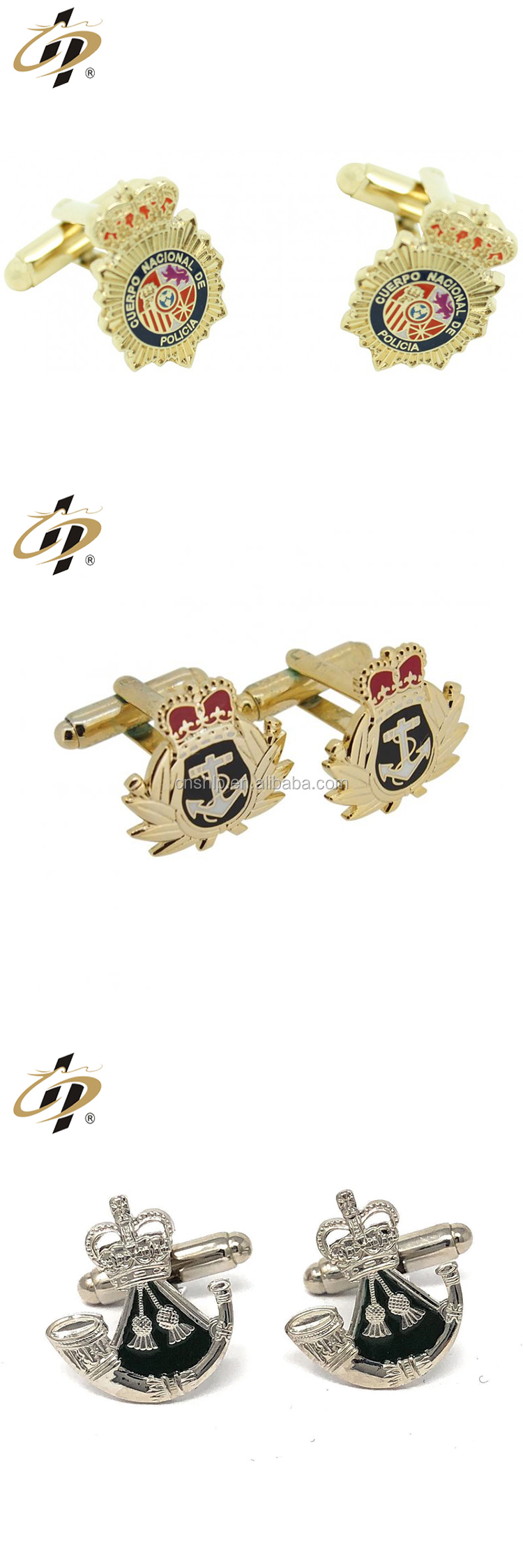 Promotional factory making custom logo crown cufflinks