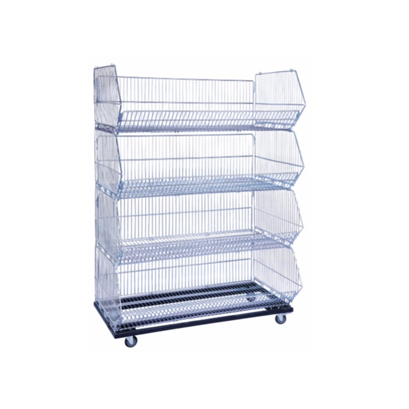 Manufacture Warehouse Equipments , Metal Steel Foldable Wire Mesh Storage Stacking Cage