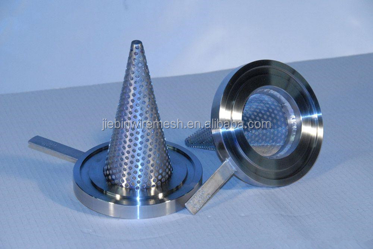 Stainless steel perforated metal mesh conical filter