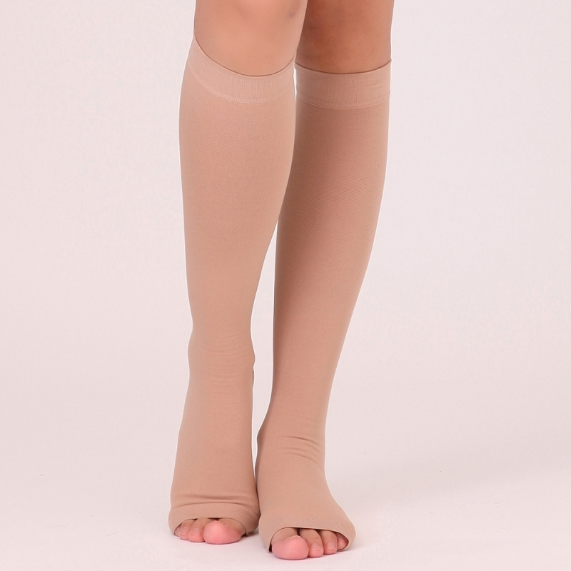 Open Toe Varicose veins Medical Compression Knee High Nude Socks 20-30mmHg