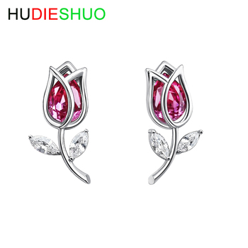 wholesale good quality flower design model beautiful Austrian crystal stud silver earrings