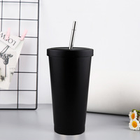 Custom Mug no Minimum Matte Black Cup with Straw