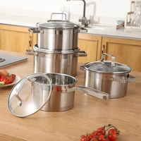 Wholesale new design stainless steel cooking pot kitchen custom pots and pans cookware sets for collocation