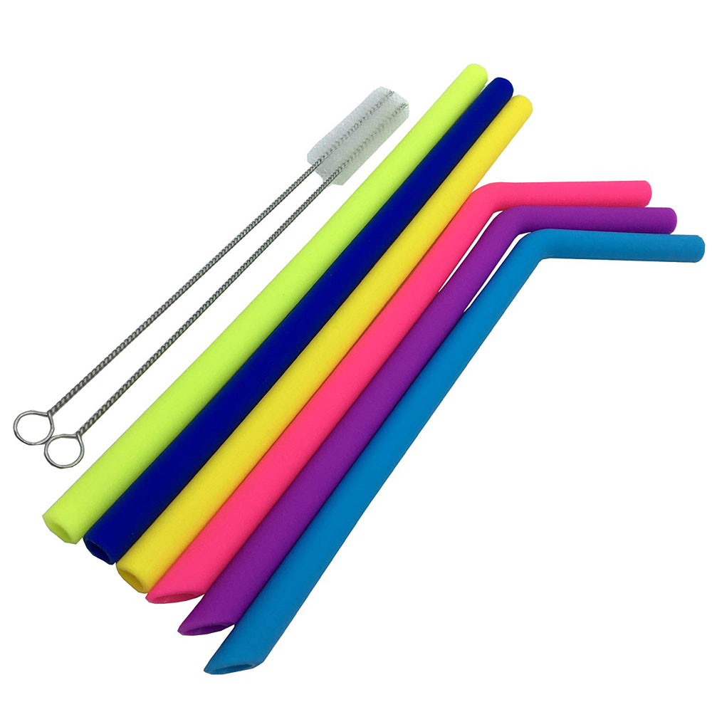 SVIN Set of 12 Big Silicone BPA Free Reusable Drinking Straws