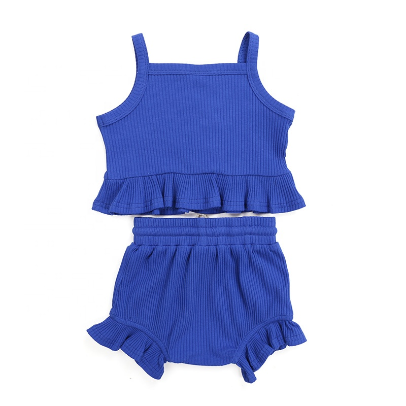 New clothing sets soild color ribbed cotton fabric baby sleeveless infant clothes kids outfits