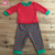 2Pcs Kids Long Sleeve Pajamas Sleepwear Set Baby Boys Girls red Striped green cuff Christmas Outfits