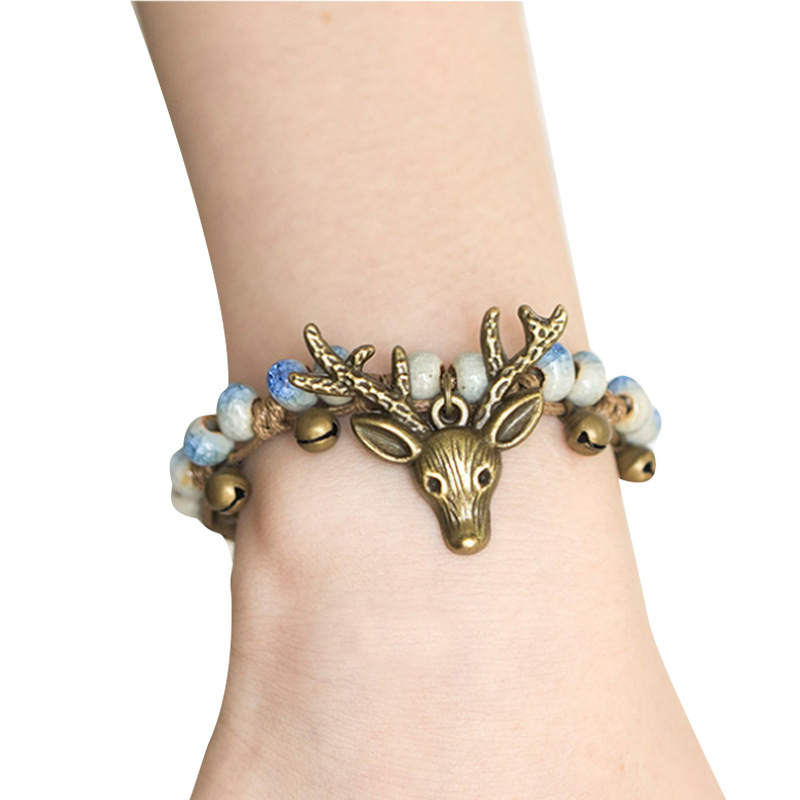 Vintage Design Colorful Ceramic Beads Sika Deer Shape Handmade Weave Bracelets For Ladies