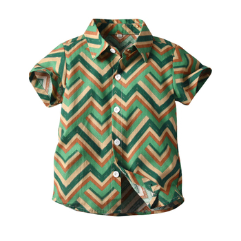 Wave pattern printed fashion boys button down shirts children's casual shirt