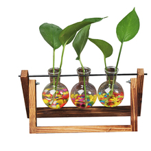 Custom Transparent Ball Hydroponic Vase For Home Decorative, Handmade Wood Decoration Flower Recycled Clear Bubble <strong>Glass</strong> Vase/