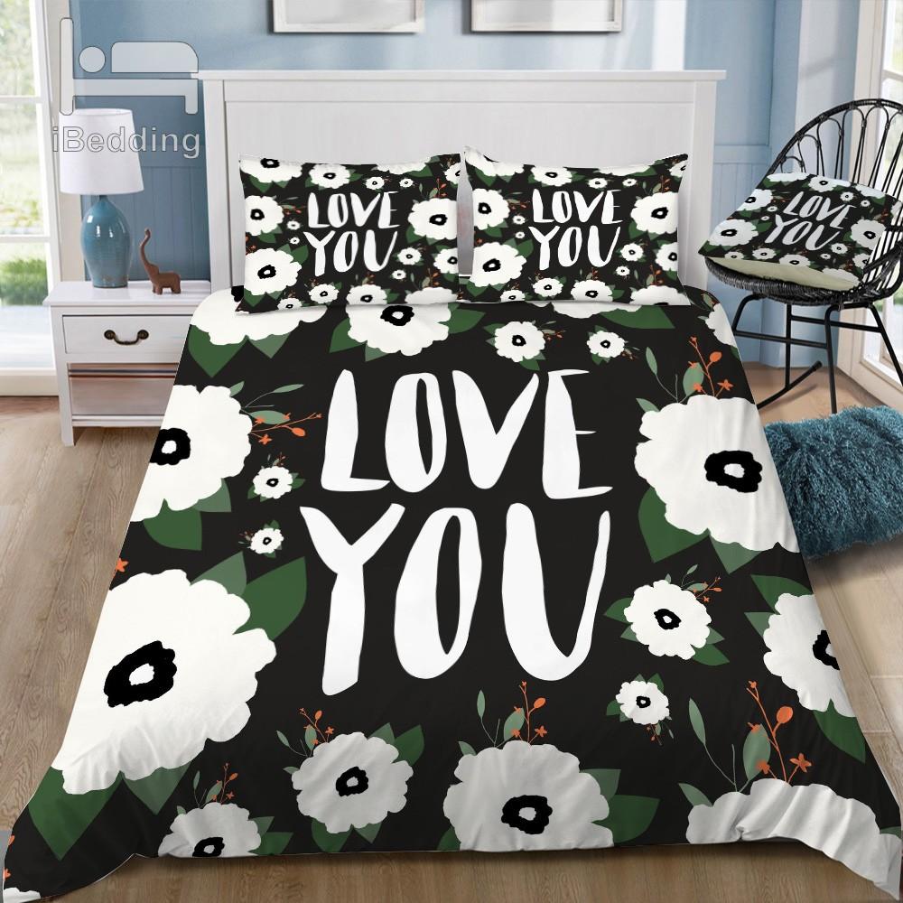 love you floral Bedding Set beddings bed sheet 100% cotton