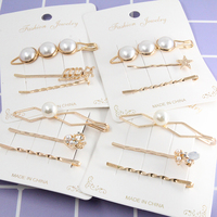 Fashion Section Pearl Hairgrips Hair Clasp Clip Set Accessories For Girls
