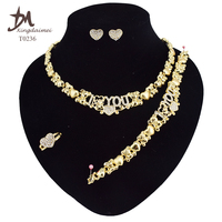 T0236 special jewelry set women High quality Teddy bear 18k gold plating i love you jewelry set