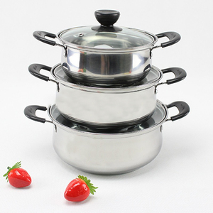 3 pcs China High quality stainless steel pot set cookware set arc-shape pot and pan set