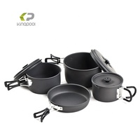 Space Saving outdoor camping hard anodized aluminum outdoor cookware set