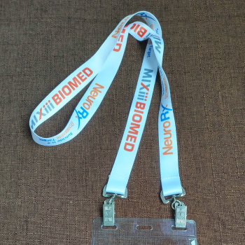 events and conference polyester lanyards ID badge holder with transparent name badge pouch