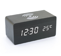Led table wooden digital alarm clock with wireless charging pad for bedroom office home clock