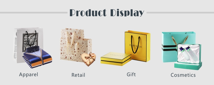 Personalized foil stamping logo luxury handle paperbag gift paper bags