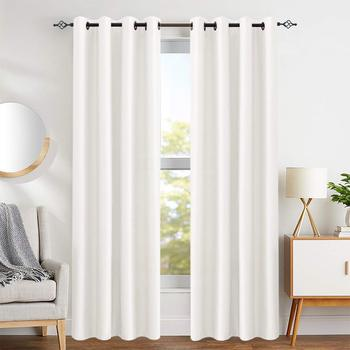 Faux Silk Window Curtains for Living Room 84 inch Length Dupioni Curtain Panels for Bedroom Grommet Top Window Treatments Light