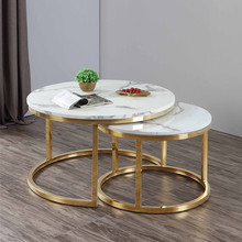 Modern living room furniture home furniture round stainless steel marble coffee <strong>table</strong> and side <strong>table</strong> set