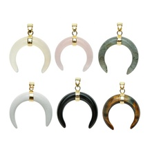 Healing Quartz Stone Pendant <strong>Charm</strong>, Double Horn Crescent Moon Gemstone Crystal Pendant for Necklace Jewelry Making