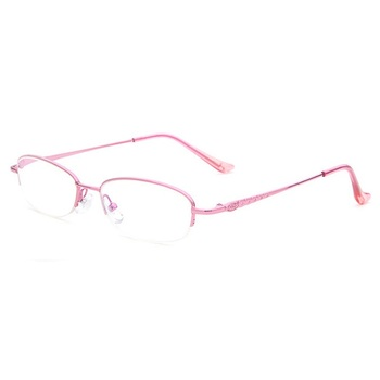Wenzhou Eyewear Factory Direct Female Reading Glasses Pink Half Rim Frames Women Reading Glasses With Anti-blue Light